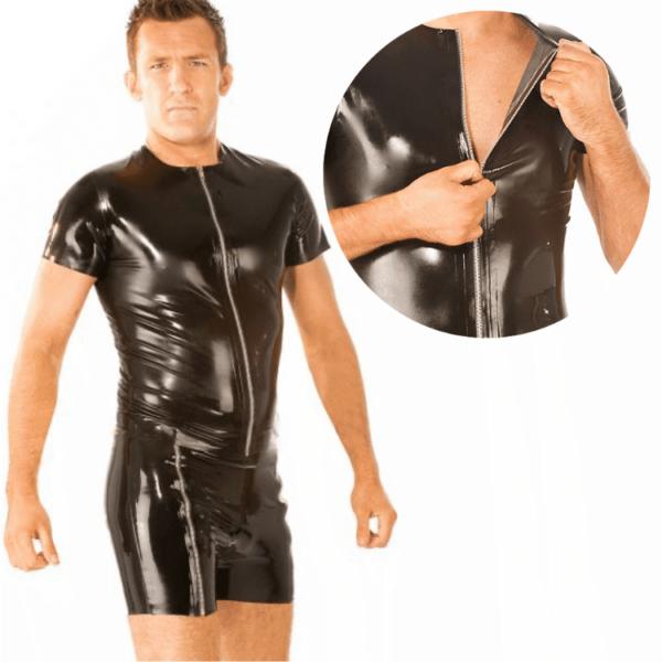 Mens Front Zip Latex T-Shirt