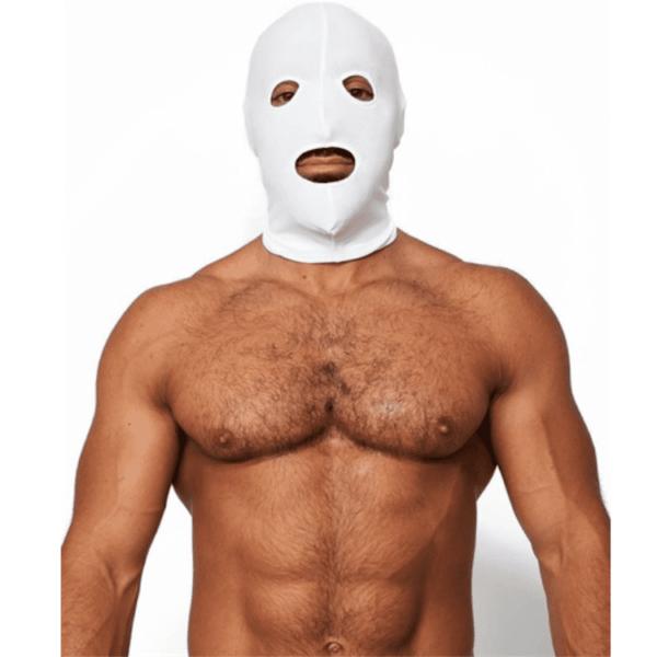 Mr. B Lycra 3 Loch Maske weiss