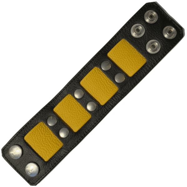 Breites Lederarmband schwarz / gelb