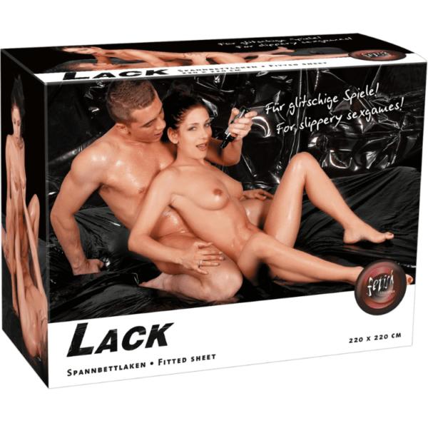 Lack-Spannbettlaken 220 x 220 cm schwarz
