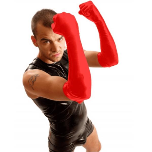 Latex Faust-Ellbogen Handschuhe Rot