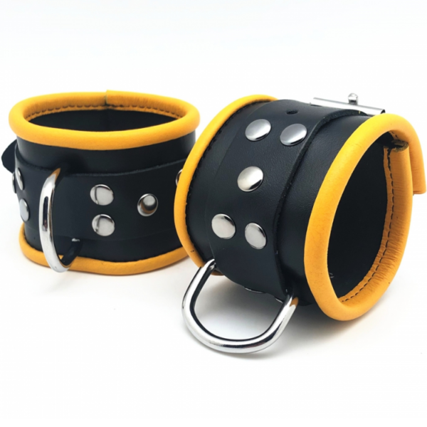 Leder Handfesseln Schwarz/Gelb