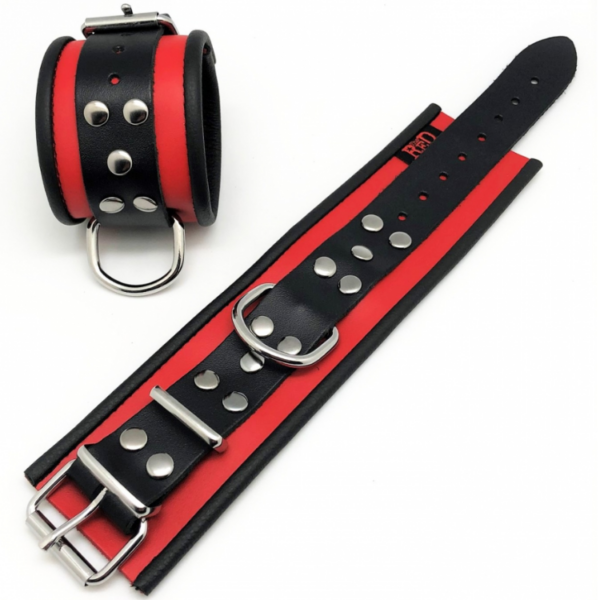 Leder Handfesseln Schwarz/Rot