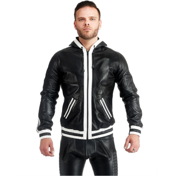 Mister B Leather Hoodie With Stripes