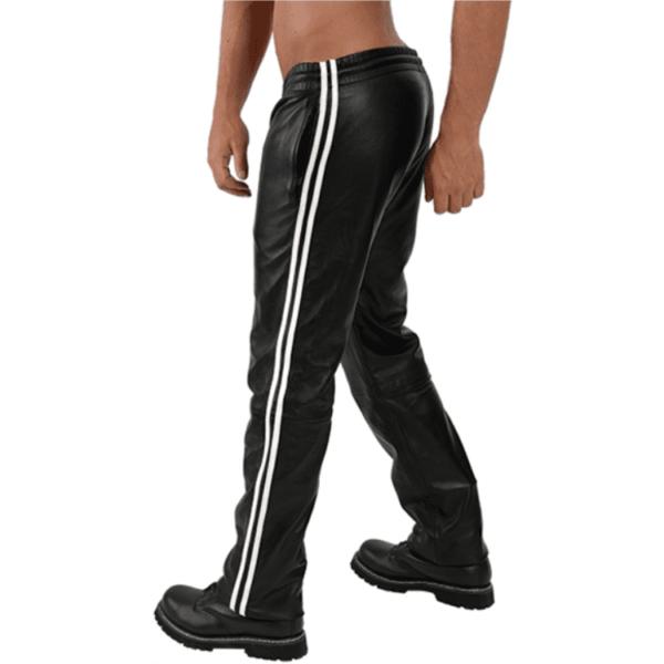 Mister B Leather Jogging Pants White Stripes