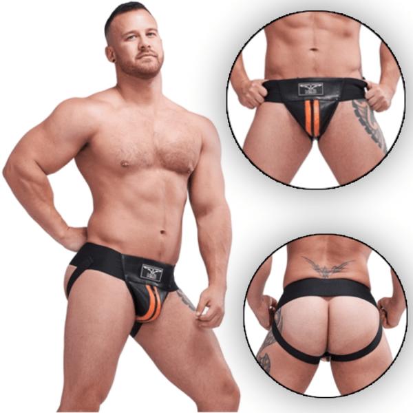Mister B Leather Premium Jockstrap Black Orange