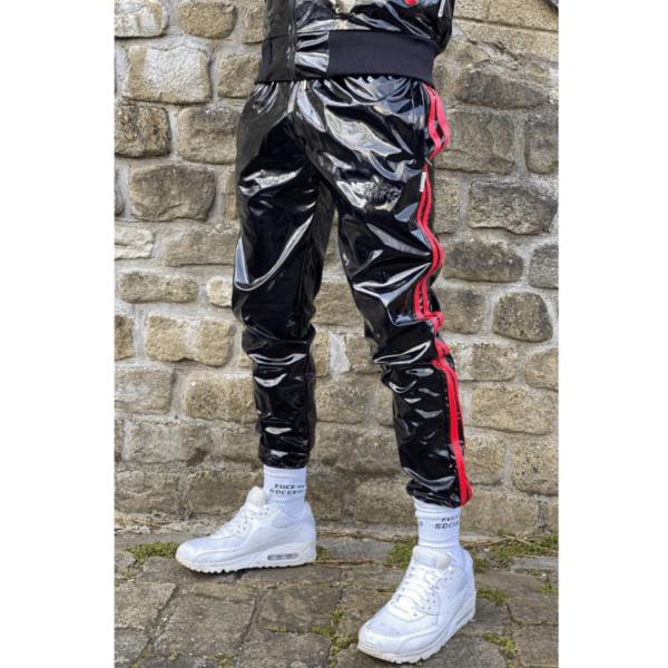 Mr Riegillio PVC Tracksuit Pants - Red Stripes