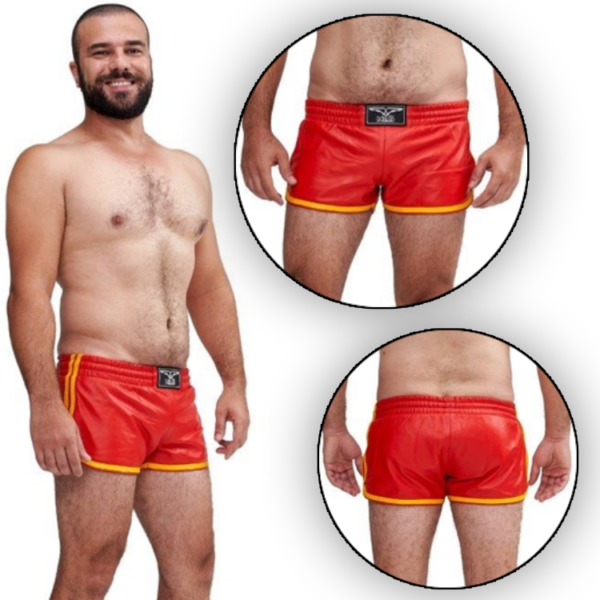 Mister B Leather Circuit Sport Shorts - Red Yellow